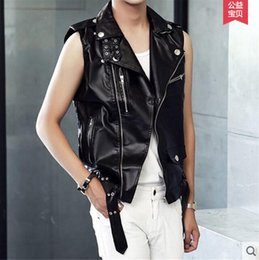 pu vest men Promo Codes - M-XXL ! 2016 Men's clothing zipper PU sleeveless leather vest outerwear motorcycle leahter jacket singer costumes