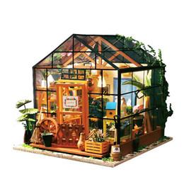 Casa del fiore 3d online-Fai da te in miniatura casa delle bambole realistica 3d case di bambola di legno fatti a mano piccola casa delle bambole modello negozio di fiori giocattolo per le decorazioni ragazza regali