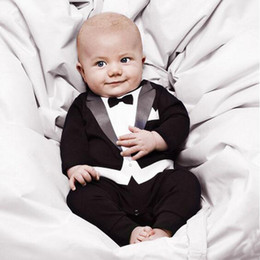 677fe1f8d51c New Baby Boy Gentleman Jersey Suit long Sleeve Small Wedding Suit Jumpsuit  Tuxedo Christening Formal Romper Outfit Clothes
