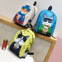 Wholesale korean backpacks school bags canvas - Lovely Cat Design Canvas Backpack School bag For Students Kids Double Shoulders Universal Outdoor Bags Korean 3 styles NNA368
