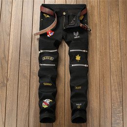 e70b988c03c15b 2018 New Fashion Camouflage Men Jeans Patches Stretch Slim Biker Jeans Men  Casual Army Green Zipper Pants Dropshipping discount red biker jeans