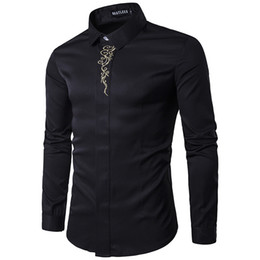 Wholesale Men Evening - 2018 Spring Autumn Shirts Outfit Embroidery Long Sleeve Men Clothing Evening Dress Shirts Black Plus Size S-2XL