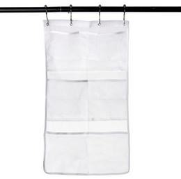 Organizador de armario colgando online-Bath Toy Organizer - Productos de baño Mesh Bath Shower Colgar Bolsa de almacenamiento Organizador Closet Guardarropa Organizer Bolsa con gancho de metal