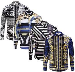 chemises sport de style militaire Promotion Hot 2019 Brand New Slim hommes chemise rétro couleur 3D floral impression mode casual dress hommes chemises medusa chemises pour hommes