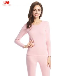 Wholesale Women Red Thermal Underwear - Wholesale-THREEGUN Cotton Women Keep Warm Long Johns Set Round Neck Ultra-Soft Elastic Fit Slim Thermal Underwear Solid Homewear Pajamas