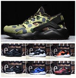 Wholesale Iv Training - 2017 New Color Air Huarache 4 IV Run Ultra PK4 Men's Running Shoes Cheap Huaraches Sneakers Black Blue White Green Camo Training Sneakers