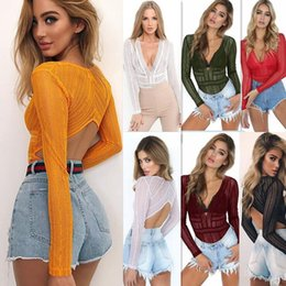 Wholesale See Through Swimwear - Women Solid Lace Deep V Neck Swimwear Long Sleeve Back Hollow Out See Through Bodysuit FFA140 20PCS