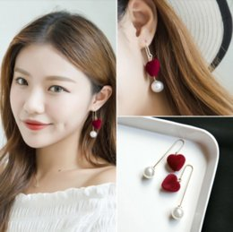 inlaid pearl pendant Canada - Fashion temperament net red simple personality hundred-fold earrings, pendant inlaid pearl earrings with red love pendant, fashion model