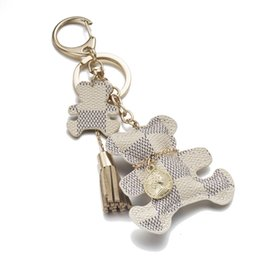 Wholesale tassels bag charms - 2018 New fashion! Key Chain Accessories Tassel Key Rings PU Leather Bear Pattern Car Keychain Jewelry Gift Bag Charm Accessories wholesale