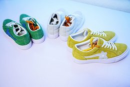 Wholesale Ox Bag - TTC The Creator x One Star Golf Ox Le Fleur Wang Green Yellow Beige Sunflower Casual Fashion Running Skate Shoes Sneakers (2 Laces,Dust Bag)