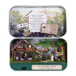 Wholesale Model Lifts - DIY Girl's 1:12 Miniature Dollhouse Iron Model Kits Box Country Lift Toy House Garden Box Birthday Gifts Christmas THEATER