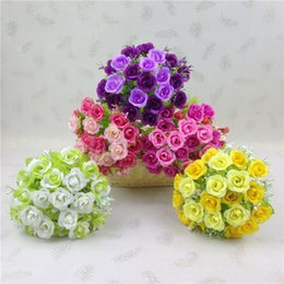 Wholesale Branch Table - One Bouquet 7 Branch 21 Heads Rose Artificial Flower Silk Flower Real Touch Flowers for Wedding Home Party Office Decor Table Accessorie