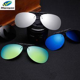 Sobre óculos on-line-DIGUYAO Piloto Polarized Clipe Em Óculos De Sol Das Mulheres Dos Homens Sem Aro Frame Para Prescrição Óculos Duplo Fit Over Virar Oculos