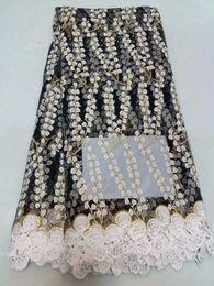 grande laço africano branco Desconto Tecido de Renda africano 2018 de Alta Qualidade Tecidos Rendas Nigeriano Tissu Africain Guipure Bordado PRETO Francês Tule Tecido de Renda