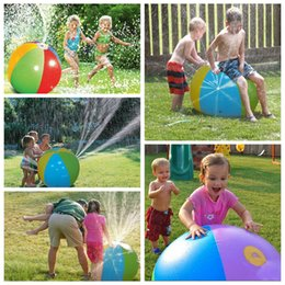 Wholesale fun floats - 75CM Inflatable Beach Water Ball Fun Spray Outdoor Summer Water Float Toy Lawn Sprinkler Home Kids Children Toys AAA339