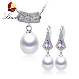 Wholesale Freshwater Pearl Drop Earrings - whole saleElegant AAA Big Crystal Genuine Freshwater Pearl Jewelry Sets For Women Fashion 925 Sterling Silver Water Drop Pendant+Earrings