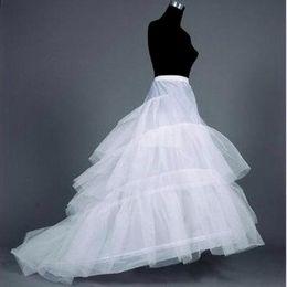 Wholesale Long Dress Petticoat - Long Train Petticoat Wedding Dresses Hoop Skirt 3-hoops Underskirt crinoline Underdress Slip Women Skirt Dress Petticoat