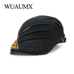Wholesale chapeau femme - Wuaumx Retro Brand Beret Hats For Men Cotton Berets Cap For Women Casual Visors Peaked Flat Cap Casquette Homme chapeau femme