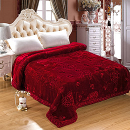 Wholesale Thick Comforters - Wholesale-Wedding Decoration Blanket Embroidered Home Textile Bedding Winter Thick Fluffy Fat Quilt Comforter Fur Mink Blankets On The Bed