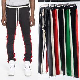 Wholesale Flat Pants - Mens zipper pants hip hop Fear Of God Fashion sweatpants red bottoms justin bieber FOG joggers pants streetwear