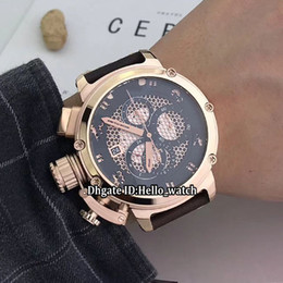 relojes para zurdos Rebajas Mano izquierda 50 mm U51 U-51 Esqueleto Negro Dial Cuarzo Cronógrafo Reloj para hombre Chimera 7474 Oro rosa Correa de cuero Caballeros Relojes