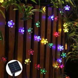 Персиковые светодиодные фонари онлайн-Cherry Peach Blossom Flower LED Солнечный Powered Fariy String Light 7 М 50 светодиодов Открытый Партия Рождество Новый Год День Рождения Украшения