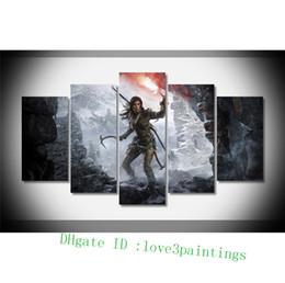 Wholesale Cartoon Painting Games - Tomb Raider Lara Croft Girl Game Snow Ice -1,5 Pieces Home Decor HD Printed Modern Art Painting on Canvas (Unframed Framed)