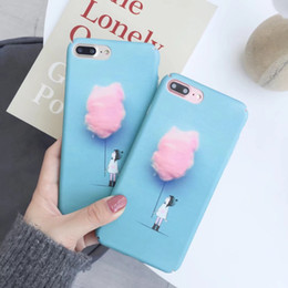 Wholesale Iphone Case Cartoon Girl - Lovely Fashion Phone Case For iX i6 6S 7 8 Plus Cotton Candy Color Girl Cartoon Cover Hard PC Cases