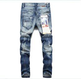 Wholesale Blue Linen Pants - Jeans For Men justin bieber beckham Elastic Side Zipper Holes Denim Pants Mens Skinny Jeans Trousers Bottoms Fashion Kanye