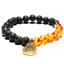 Yoga baum leben armbänder online-Chakra Armband Baum des Lebens Chakra Black Lava Stein Perlen Männer Armbänder Vintage Yoga Mala Meditation Frauen Männer Armbänder