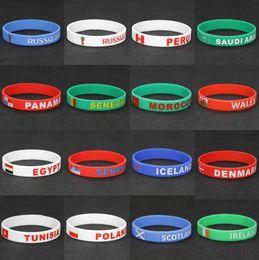 2018 World Cup Esporte Pulseira de Silicone de Futebol Pulseira de 20 CM Fãs de Futebol Elastic Wrist Band Lembrança Atacado de Fornecedores de chaveiro de borracha