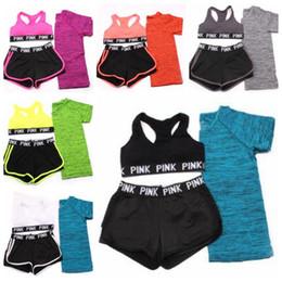 Wholesale Women Sweat Suits - Pink Tracksuits Sportswear Women Pink Letter Bras Pants T Shirts Pink Sports Sweat Suit Vest Shorts Tops Runner Fashion Jogging Costume 3903
