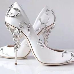 сатиновые шпильки Скидка Декоративные филигранные листья, спирали, естественно, на каблуках, белые женские свадебные туфли, шикарные атласные шпильки на каблуках Eden Pumps Bridal