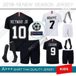 2018 2019 Psg kids kit Soccer jersey 18 19 Champions League MBAPPE black  white CAVANI VERRATTI Paris maillot de foot football shirt acac55280