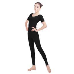 Wholesale Womens Orange Jumpsuit - Ensnovo Spandex Unitard Bodysuit Short Sleeve Womens Gymnastic Unitard Black Dance Costumes Womens Cosplay Jumpsuit Lycra Suit