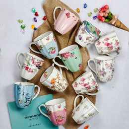 bone china tea cups wholesale Canada - Bone China Teacups Coffee Cups in New Design in Multi Color and Pattern Delicate for Red Tea and Coffee Free Shipping by Fedex