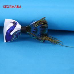handgemachte geschenkboxen Rabatt Neue hohe Qualität Mens Pfau Feder Fliege Hand Made Luxus Feder Fliege mit Geschenkbox