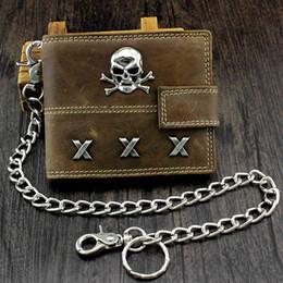 Borse portafogli cranio online-Portafoglio in pelle Skull Biker Span con portamonete e catena sicura