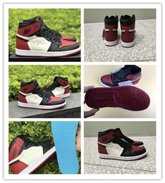 Wholesale Nylons Toes - 2018 New top quality Air Retro 1 High OG Bred Toe black red Men Basketball Shoes Sports Sneakers TRAINERS Wholesale Size 8-13