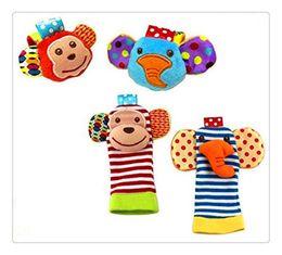 Atacado-bebê chocalho brinquedos de pulso pé localizador pequeno bebê macio menino brinquedo para 0-12 meses infantil infantil recém-nascido meias brinquedos de pelúcia de