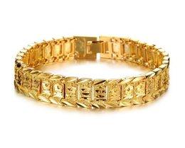 Ouro cheio pulseira link de corrente on-line-Pulseira Pulseiras Para Mulheres Homens 18 K Ouro Amarelo Real Preenchido Pulseira Relógio Sólido Elo Da Cadeia de 8.3 polegadas Ouro Encantos Pulseiras KKA1846