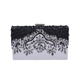 Модные бисерные сумки онлайн-Fashion Women Vintage Evening Bag  Beaded Shoulder Bag Black Crystal Wedding Bride Banquet Dress Bolsas