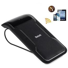 Wholesale Iphone Sun Visor - New Wireless Black Bluetooth Handsfree Car Kit Speakerphone Sun Visor Clip 10m Distance For iPhone Smartphones with Car Charger