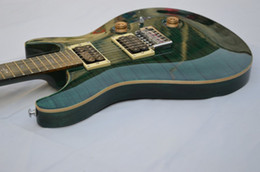 Wholesale Electric Guitar Bird Inlay - wholesale - 2013 New Arrival Green stripe Electric Guitar Very Beauty OEM bird inlay HOT free shipping2018