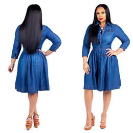 f1920393db0 плюс джинсовые платья размера Скидка S-3XL плюс размер женщины джинсы платье  отложным воротником карманы