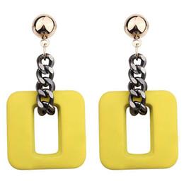 2018 nouvelle haute qualité mode résine chaîne Drop boucles d'oreilles pour les femmes bijoux marque géométrique rond et carré en alliage Dangle Earrings gros ? partir de fabricateur