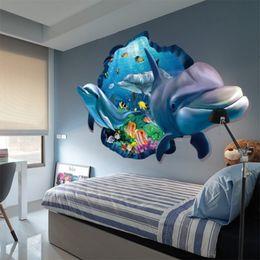 2019 papel fotográfico em fibra Peixe Subaquático Golfinho 3D Vivid Janela Adesivos de Parede DIY Decalques de Parede Do Banheiro Sala de estar Quarto Decoração de Casa Cartaz Decal Mural