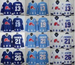 ee935555b Quebec Nordiques Vintage CCM Jerseys 13 Mats Sundin 21 Peter Forsberg 26  Peter Stastny 19 Joe Sakic Retro Ice Hockey Jerseys