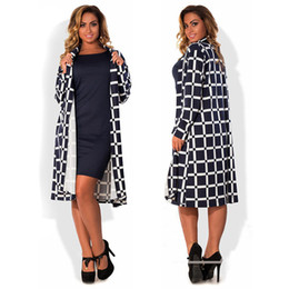 Wholesale Trench Femme - Autumn plaid trench coat Femme long sleeve open stitch trench coat for women plus size L-6XL long
