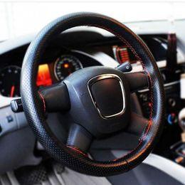 Direcção automóvel de couro on-line-Tampa macia do volante do carro do couro do plutônio de 2018 DIY com agulhas e linha